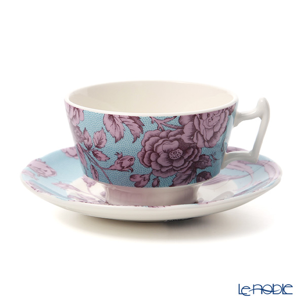 Spode 'Kingsley' Teal Blue & Purple Tea Cup & Saucer 200ml