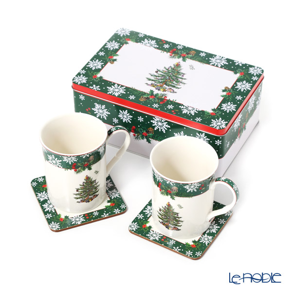 Spode 'Christmas Tree' Mug & Coaster (set of 4 for 2 persons)