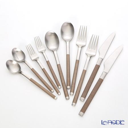 Sakurai 'Cozy' Brown Dinner Spoon, Fork, Knife / Tea Spoon, Fork (set of 10 for 2 persons)