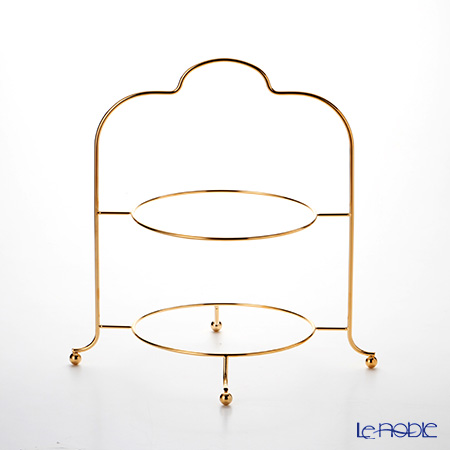 Sakurai '24K Gold plated' 2 Tier High Tea / Cake Stand H40cm (for 23.5-27cm Plate)