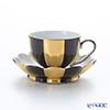 アウガルテン(AUGARTEN) メロン ブラック&ゴールド(7027G)モカカップ&ソーサー 0.05L(015)