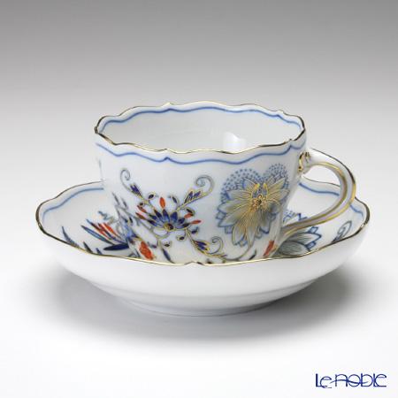 マイセン(Meissen) ブルーオニオン レッド&ゴールド 800117/00582 コーヒーカップ&ソーサー 200cc