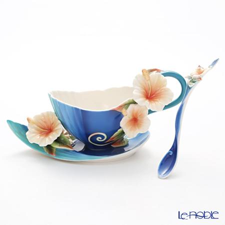 フランツ・コレクション アイランドハイビスカス ブルー カップ&ソーサー スプーン付 FZ01779