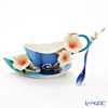 Franz collection blue Island hibiscus Cup & Saucer with a spoon FZ01779E