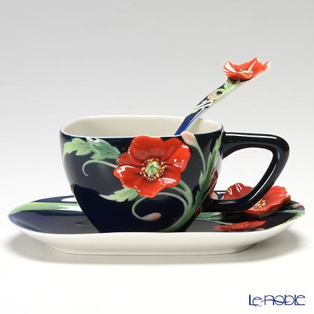 フランツ・コレクション セレニティーポピー カップ&ソーサー スプーン付 FZ02474