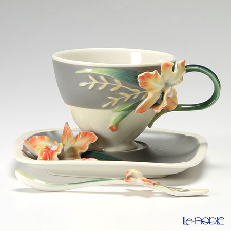 Franz Collection Magnificent Cattleya Orchid porcelain cup/saucer/spoon set FZ02866
