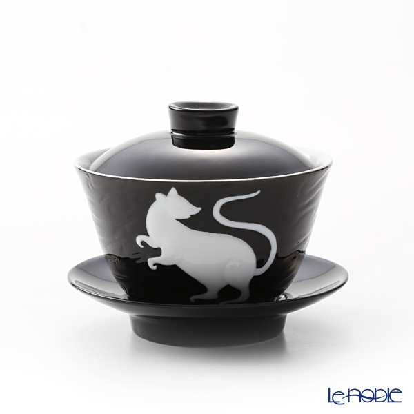 Franz Collection 'Zodiac - Rat / Mouse' Black JB00906 Covered Oriental Cup & Saucer