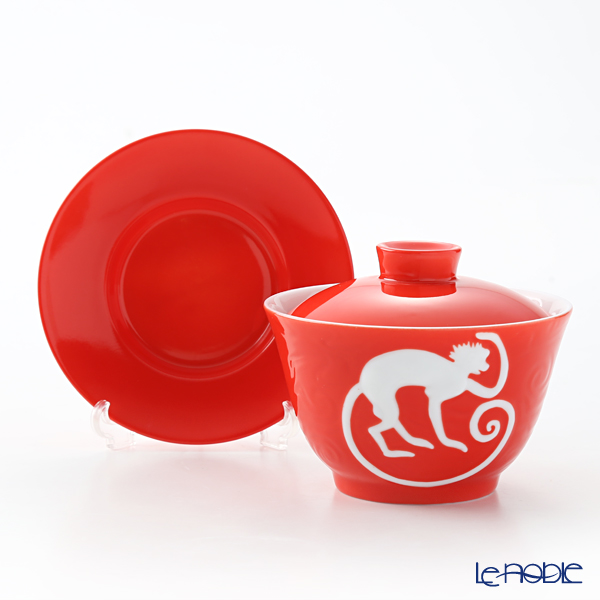 Franz Collection 'Zodiac - Monkey' Red JB00914 Covered Oriental Cup & Saucer