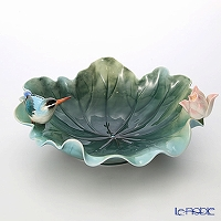 Franz Collection 'Kingfisher & Lotus (Bird Flower)' FZ03080 Sculptured Bowl 32cm
