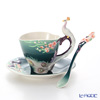 Franz collection white pea cock Cup & Saucer with a spoon FZ03555