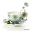 Franz Collection 'Amphibia Frog (Animal with Water Lily)' FZ00625 FZ00015 Sculptured Cup & Saucer with Spoon