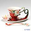 Franz Collection Island Beauty hibiscus flower design sculptured porcelain cup/saucer/spoon set FZ00978