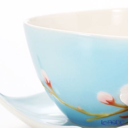 Franz Collection 'Cherry Blossom (Flower)' Pink & Sky Blue FZ01366 Sculptured Cup & Saucer with Spoon