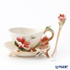 Franz Collection 'Azalea (Flower)' Red FZ01335 Sculptured Cup & Saucer with Spoon