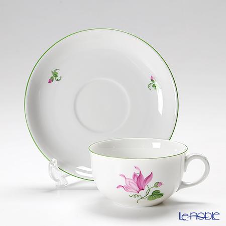 Augarten 'Wiener (Viennese) Flower - Cyclamen' [Schubert shape] Tea Cup & Saucer 200ml (S)