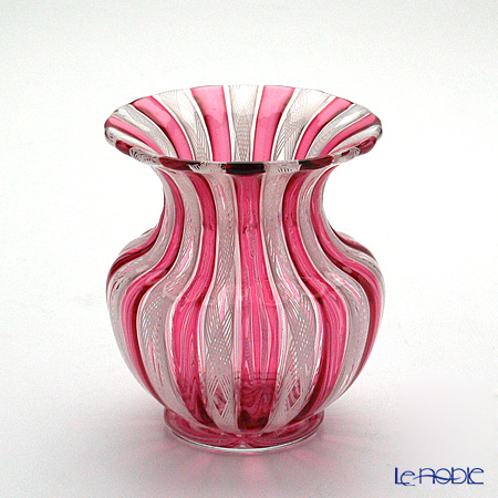 バラリン スモールベース(花瓶) 9cm #019 ルビー×ホワイトレース