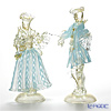 Rose paired figurine #018/20 turquoise x White