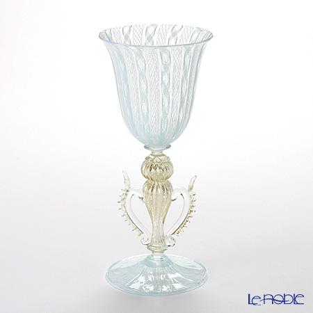 バラリン ワイングラス 脚飾り付 #4202 ターコイズ×ホワイトレース