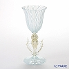 Ballarin 'Turquoise Lace x White Lace with Gold' #4202 Wine Glass (Decorated stem)