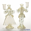 Rose paired figurine candle holder #4063 white * gold lace