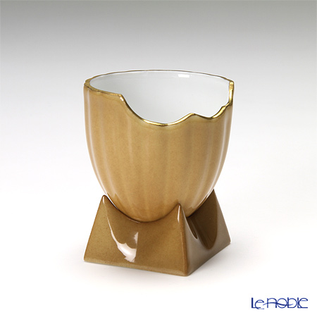 J.L Coquet / Limoges 'Egg Cup Collection' Chestnut Equivoc Cup & Holder