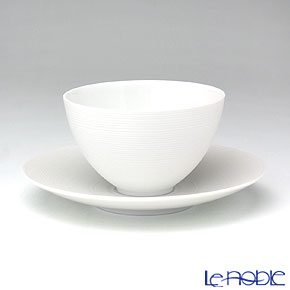 J.L Coquet / Limoges 'Hemisphere' White Satin Cup /Bowl & Saucer 200ml