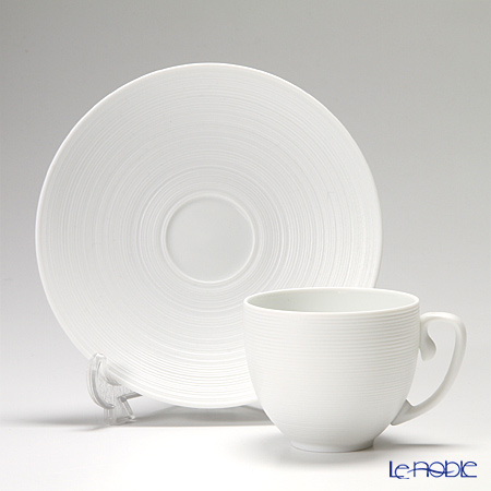 J.L Coquet / Limoges 'Hemisphere' White Satin Mocha Coffee Cup & saucer 130ml
