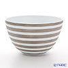 J.L Coquet / Limoges 'Hemisphere - Stripes' Platinum Salad Serving Cowl 25xH15cm