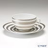 J.L Coquet / Limoges 'Hemisphere - Stripes' Platinum Tea Cup & Saucer 230ml