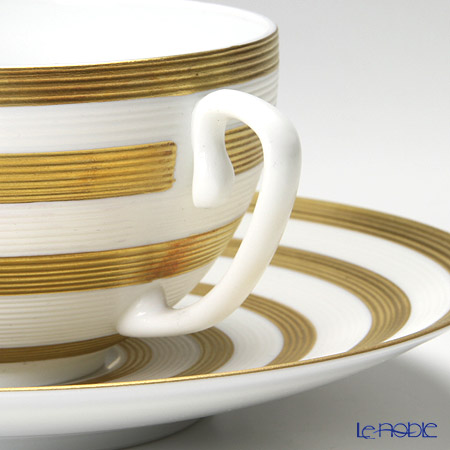 J.L Coquet / Limoges 'Hemisphere - Stripes' Gold Tea Cup & Saucer 230ml