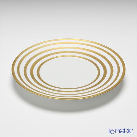 J.L Coquet / Limoges 'Hemisphere - Stripes' Gold Dessert Plate 21cm