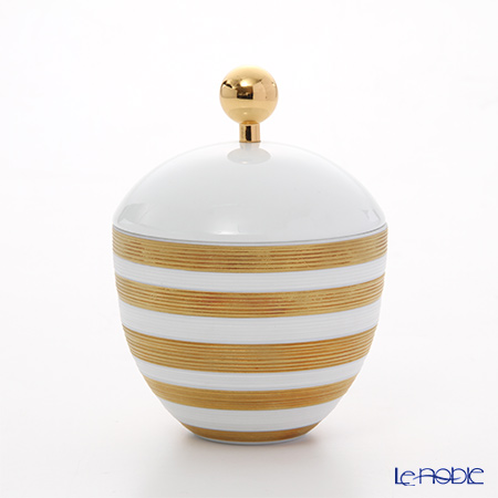J.L Coquet / Limoges 'Hemisphere - Stripes' Gold Covered Sugar Bowl 250ml