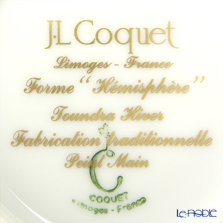 J.L Coquet / Limoges 'Hemisphere - Toundra / Winter' White & Gold Coffee Cup & Saucer 130ml