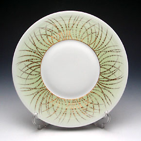 J.L Coquet / Limoges 'Hemisphere - Toundra / Spring' Green & Gold Dinner Plate 26cm
