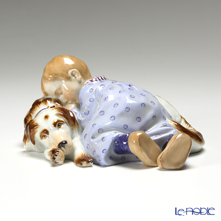 マイセン(Meissen) ヘンチェルの子供シリーズ 900100/73368 眠る子どもと犬