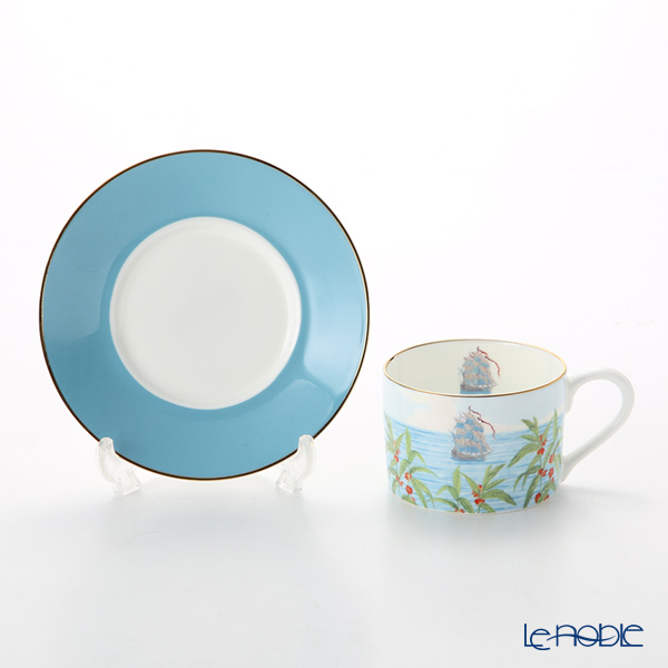 Roy Kirkham Blenheim Palace Indian Room China Collection Tea Cup & Saucer, blue