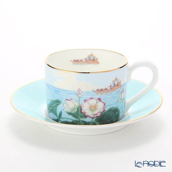 Roy Kirkham 'Blenheim Palace - Indian Room' Turquoise Blue Tea Cup & Saucer
