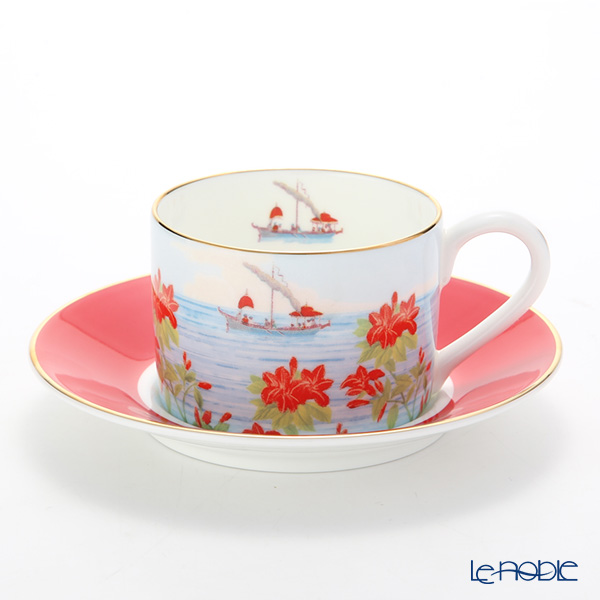 Roy Kirkham Blenheim Palace Indian Room China Collection Tea Cup & Saucer, red