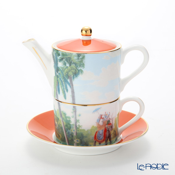 Roy Kirkham 'Blenheim Palace - Indian Room' Orange Tea for One (Cup & Saucer & Pot)