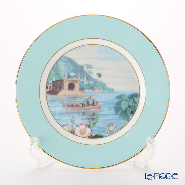 Roy Kirkham 'Blenheim Palace - Indian Room' Turquoise Blue Tea Plate 22cm