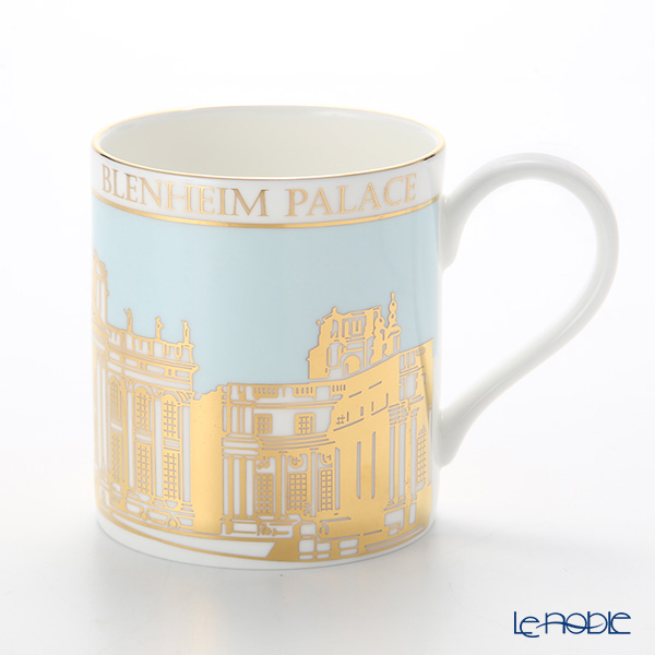 Roy Kirkham 'Blenheim Palace' Sky Blue & Gold Pop Mug 280ml