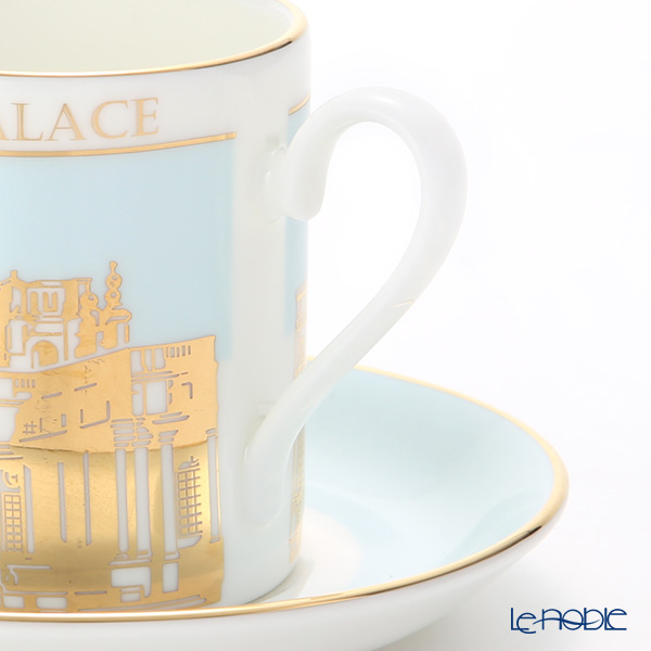 Roy Kirkham 'Blenheim Palace' Sky Blue & Gold Can Coffee Cup & Saucer