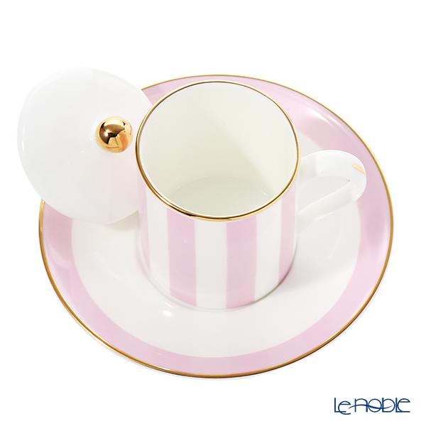 Roy Kirkham 'Harlequinn Stripes' Pink Covered Demitasse Coffee Cup Lid & Saucer