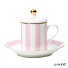 Roy Kirkham 'Harlequinn Stripes' Pink Covered Demitasse Coffee Cup Lid & Saucer
