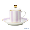 Roy Kirkham 'Harlequinn Stripes' Purple Covered Demitasse Coffee Cup Lid & Saucer