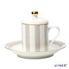 Roy Kirkham 'Harlequinn Stripes' Grey Covered Demitasse Coffee Cup Lid & Saucer