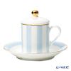 Roy Kirkham 'Harlequinn Stripes' Blue Covered Demitasse Coffee Cup Lid & Saucer