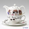 Roy Kirkham Animal Fashion Cat & Dog Tea for One Teapot with Classic Cup & Saucer, Cat