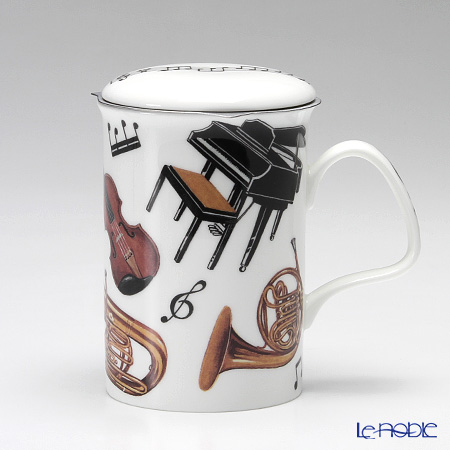 Roy Kirkham 'Concert (Musical Instruments) Piano & Horn' Mug with Infuser & Lid 320ml