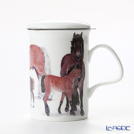 Roy Kirkham Horses Infuser Mug, family-brown